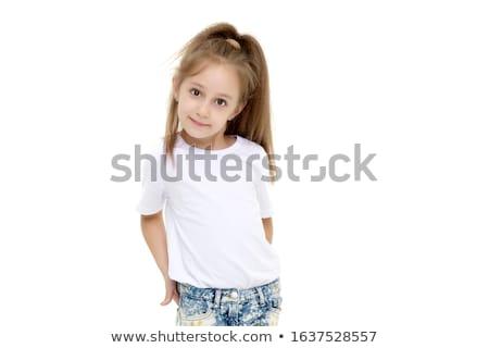 Genç kız kırmızı elbise yüz çocuk ışık ev Stok fotoğraf © racoolstudio