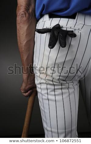 hombre · bate · de · béisbol · blanco · cara · béisbol · noche - foto stock © elnur