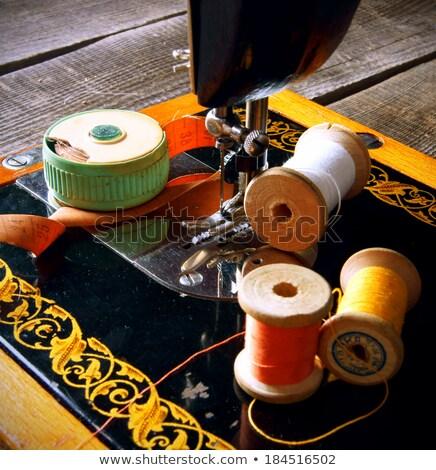 Colorido máquina de costura tesoura preto vermelho sedoso Foto stock © Yatsenko