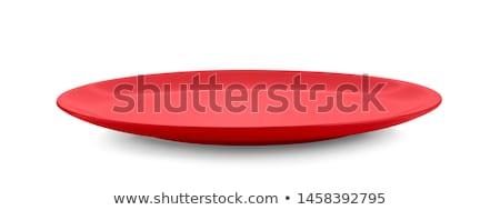 Czerwony obiedzie tablicy pusty Zdjęcia stock © Digifoodstock