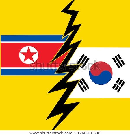 na · północ · jądrowej · niebezpieczeństwo · banderą · tle · ramki - zdjęcia stock © doddis