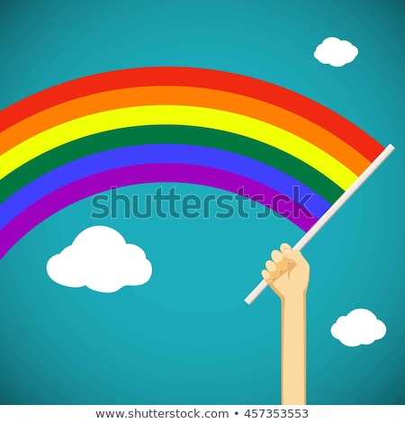 man with a rainbow flag in his hand Stock photo © nito