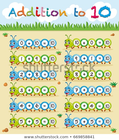 Addition to ten worksheet with caterpillar Stock photo © bluering