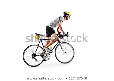 Bicicleta homens isolado branco projeto arte Foto stock © NikoDzhi