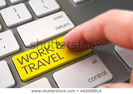 Billentyűzet citromsárga kulcs utazás turné 3d illusztráció Stock fotó © tashatuvango