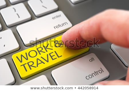 Klavye sarı anahtar seyahat tur 3d illustration Stok fotoğraf © tashatuvango