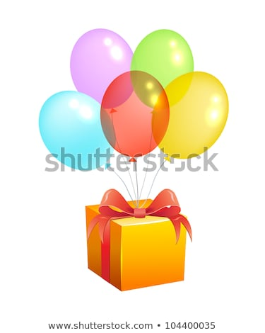 Caja de regalo presente púrpura cinta arco inflable Foto stock © user_11870380