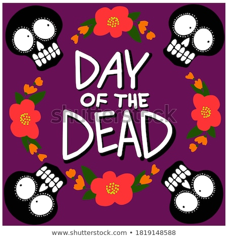 Halloween vector cartoon skull icons, Mexican cute sugar skulls design set, Dia de los Muertos Stock photo © RedKoala