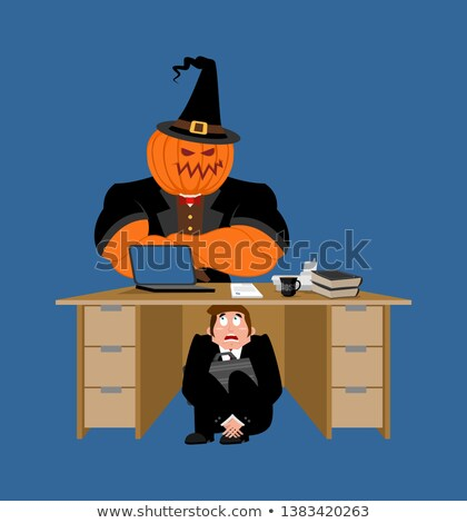 businessman scared under table of pumpkin frightened business m stock photo © popaukropa