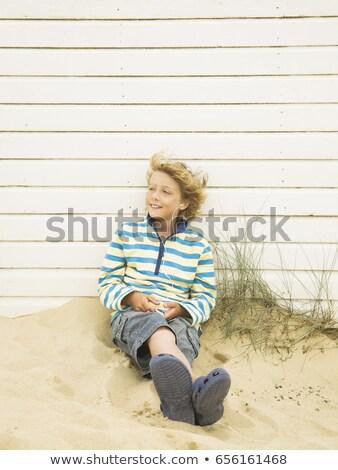 pintado · azul · establecer · arena - foto stock © is2
