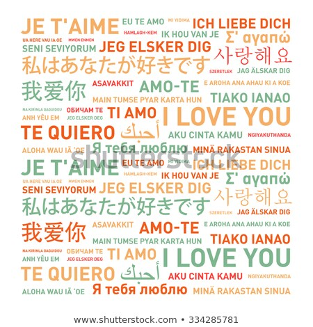 I love you text in English, Spanish, French, German and