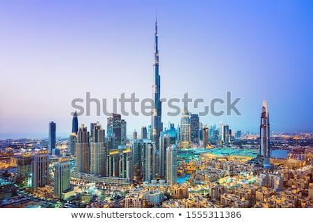 Dubai şehir merkezinde ufuk çizgisi sahil görmek gün batımı Stok fotoğraf © alexeys