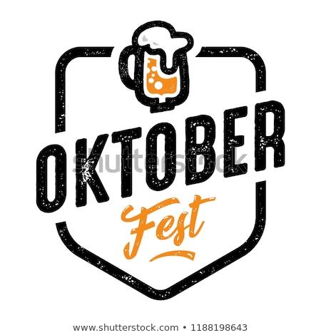 Oktoberfest logo sör fesztivál Németország buli Stock fotó © popaukropa
