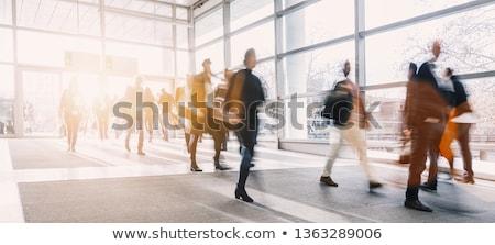 Mensen lopen trottoir illustratie vrouw boom Stockfoto © bluering