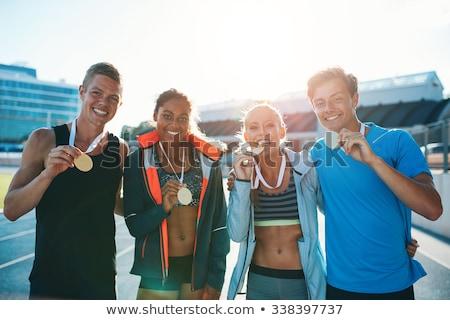 portré · atléta · nyerő · aranyérem · fehér · férfi - stock fotó © wavebreak_media