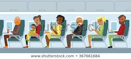 Passenger airline set in flat style stock photo © studioworkstock