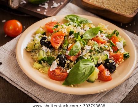 Salada feta tomates oliva manjericão jantar Foto stock © M-studio