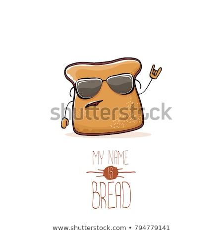 Beyaz ekmek karikatür maskot karakter yalıtılmış Stok fotoğraf © hittoon