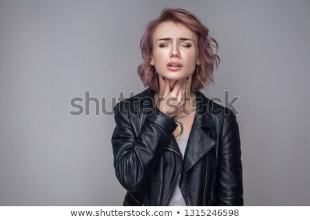 Short hair black high necked women About the sickness Stock photo © toyotoyo