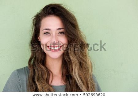 Portret glimlachend jonge vrouw tonen scherm Stockfoto © deandrobot