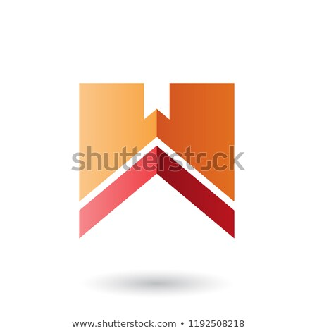 Stock photo: Orange and Red Letter W with a Thick Stripe Vector Illustration