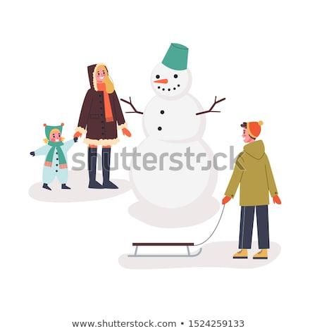 снеговик · женщины · снега · зима · Hat · морковь - Сток-фото © decorwithme