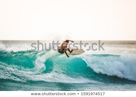 ファー · 若い男 · ビーチ · サーフボード · 見える · 波 - ストックフォト © hlehnerer
