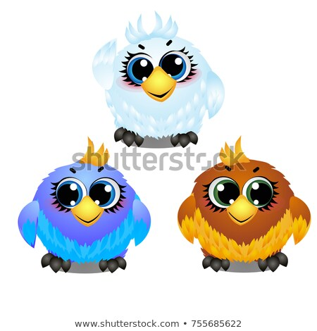 Set of funny colorful animated birds with big trusting eyes isolated on white background. Elements t Stock photo © Lady-Luck