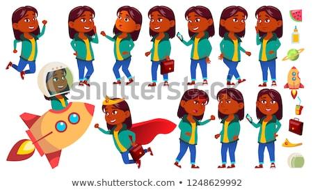 indian · meisje · kid · ingesteld · vector - stockfoto © pikepicture