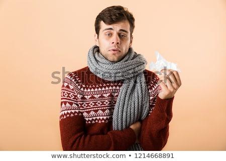 портрет больным человека свитер шарф счастливым Сток-фото © deandrobot