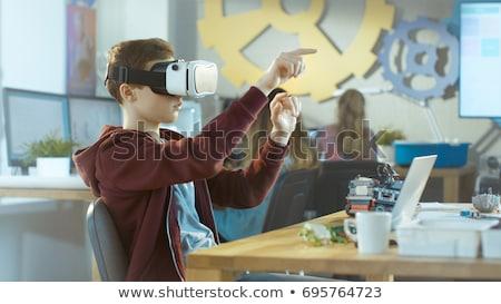 少年 着用 バーチャル 現実 ゴーグル いい ストックフォト © Lopolo