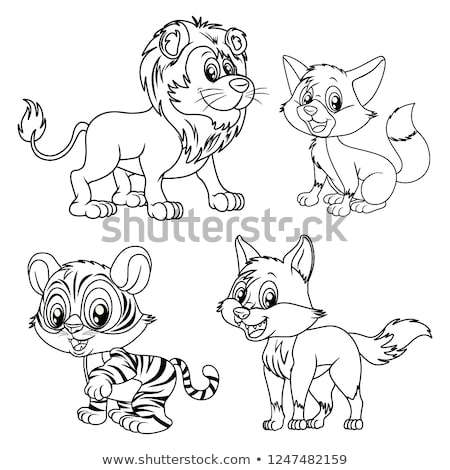 Karikatür sinsi aslan örnek erkek Stok fotoğraf © cthoman