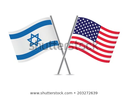 Zwei Fahnen Vereinigte Staaten Israel isoliert Stock foto © MikhailMishchenko