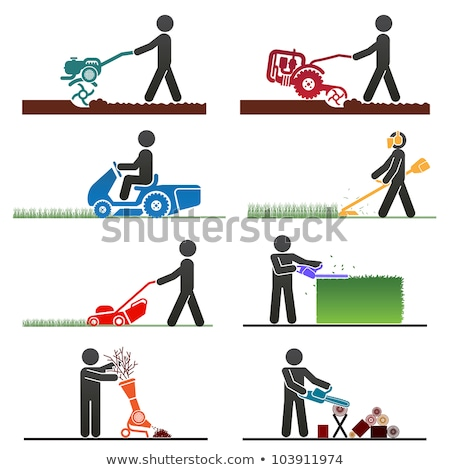 Farmer with Equipment Working on Farm Cartoon Icon Stock photo © robuart
