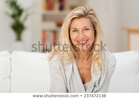 retrato · alegre · mulher · loira · vermelho · ano · novo · traje - foto stock © deandrobot