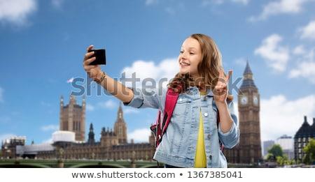 heureux · belle · adolescente · musique · casque - photo stock © dolgachov