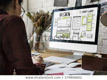 ストックフォト: ウェブ · デザイナー · ノートパソコン · 作業 · ユーザー · インターフェース