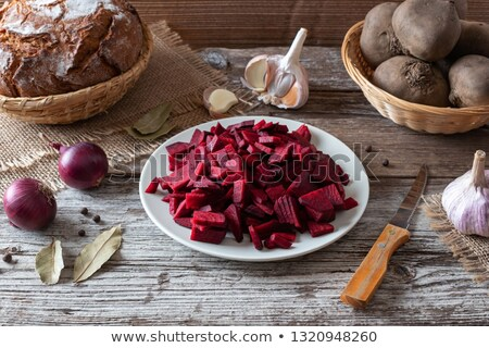 Sliced red beets and other ingredients to prepare fermented beet kvass Stock photo © madeleine_steinbach
