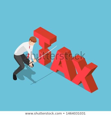 Scissors cutting word TAX 3D Stock photo © djmilic