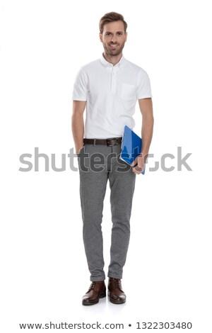 egészalakos · kép · fiatal · lezser · divat · férfi - stock fotó © feedough