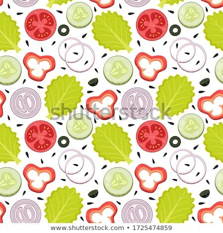 Laitue tomate illustration laisse réaliste restaurant Photo stock © ConceptCafe