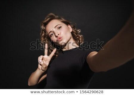 portre · sevimli · genç · kadın · öpücük · beyaz - stok fotoğraf © studiolucky