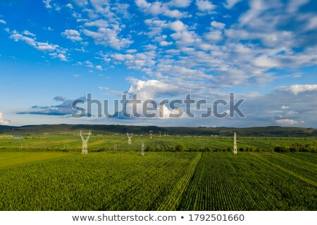 Panoramic landscape with endless farmlands, forests and highway in a autumn time on a background of  Stock photo © artjazz