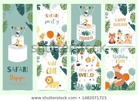 Kid Boy Birthday Cake Woodland Illustration Stock photo © lenm