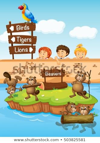 Copii uita grădină zoologică ilustrare copil peisaj Imagine de stoc © colematt