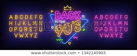 90-es évek neon címke trendi retro promóció Stock fotó © Anna_leni