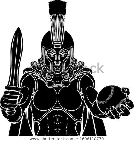 blanco · negro · trojan · casco · gráfico · bronce · espartano - foto stock © krisdog