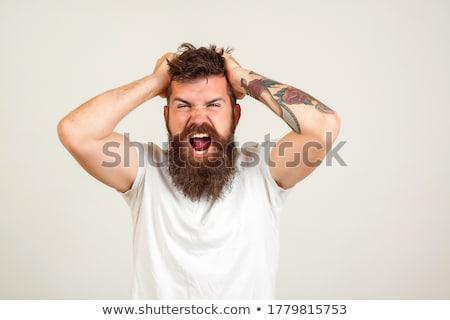 hoofdpijn · mannelijke · pop · art · retro · hand · gezicht - stockfoto © studiostoks