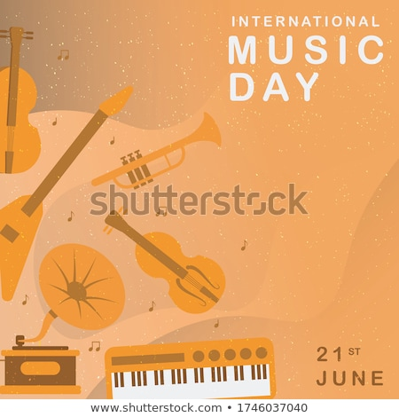 Stock photo: Happy Jazz Day banner of colorful piano keys