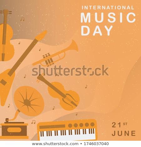 Gelukkig jazz dag banner kleurrijk pianotoetsen Stockfoto © cienpies